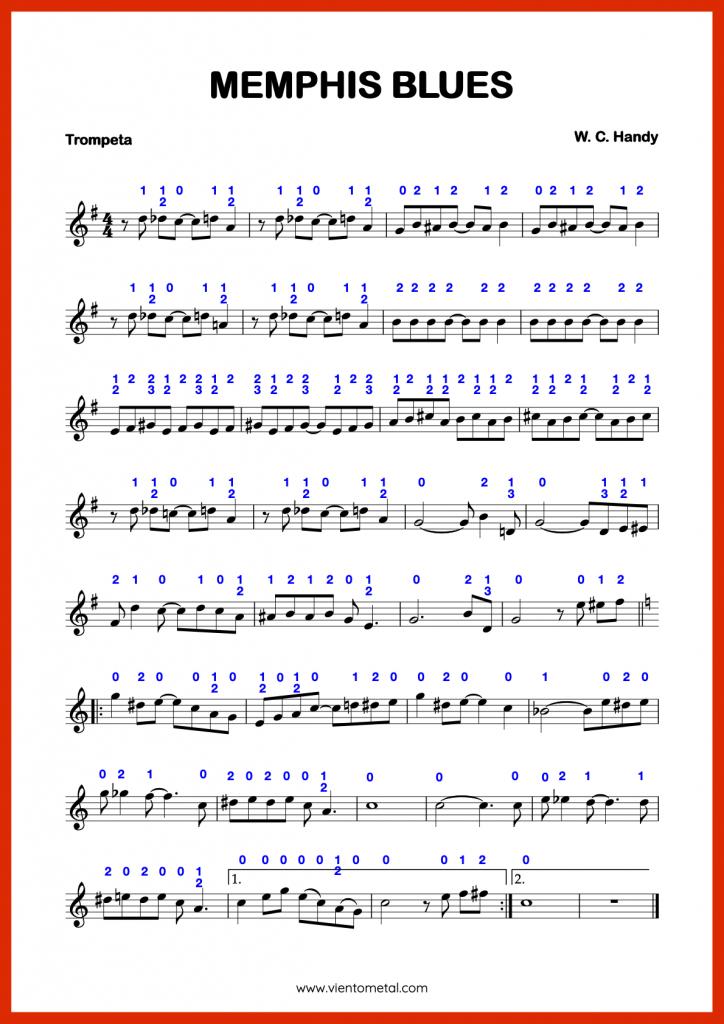 MEMPHIS BLUES - Partitura para Trompeta con Digitaciónn