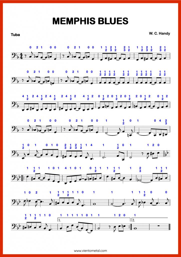 MEMPHIS BLUES - Partitura para Tuba con Digitaciónn