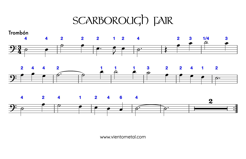 SCARBOROUGH FAIR - Partitura Trombón posiciones