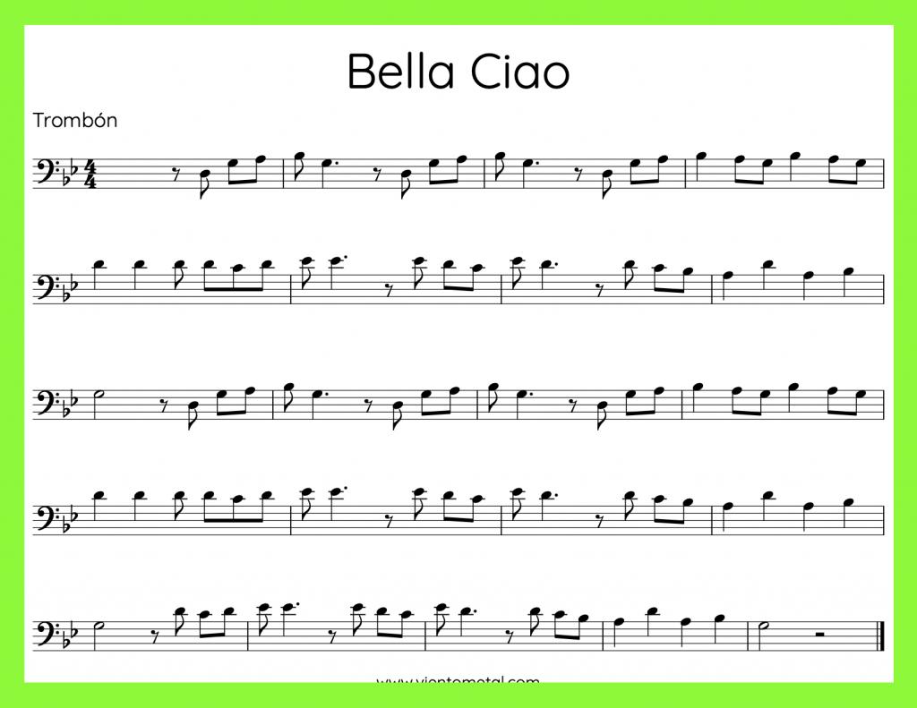 Bella Ciao - Partitura para Trombón