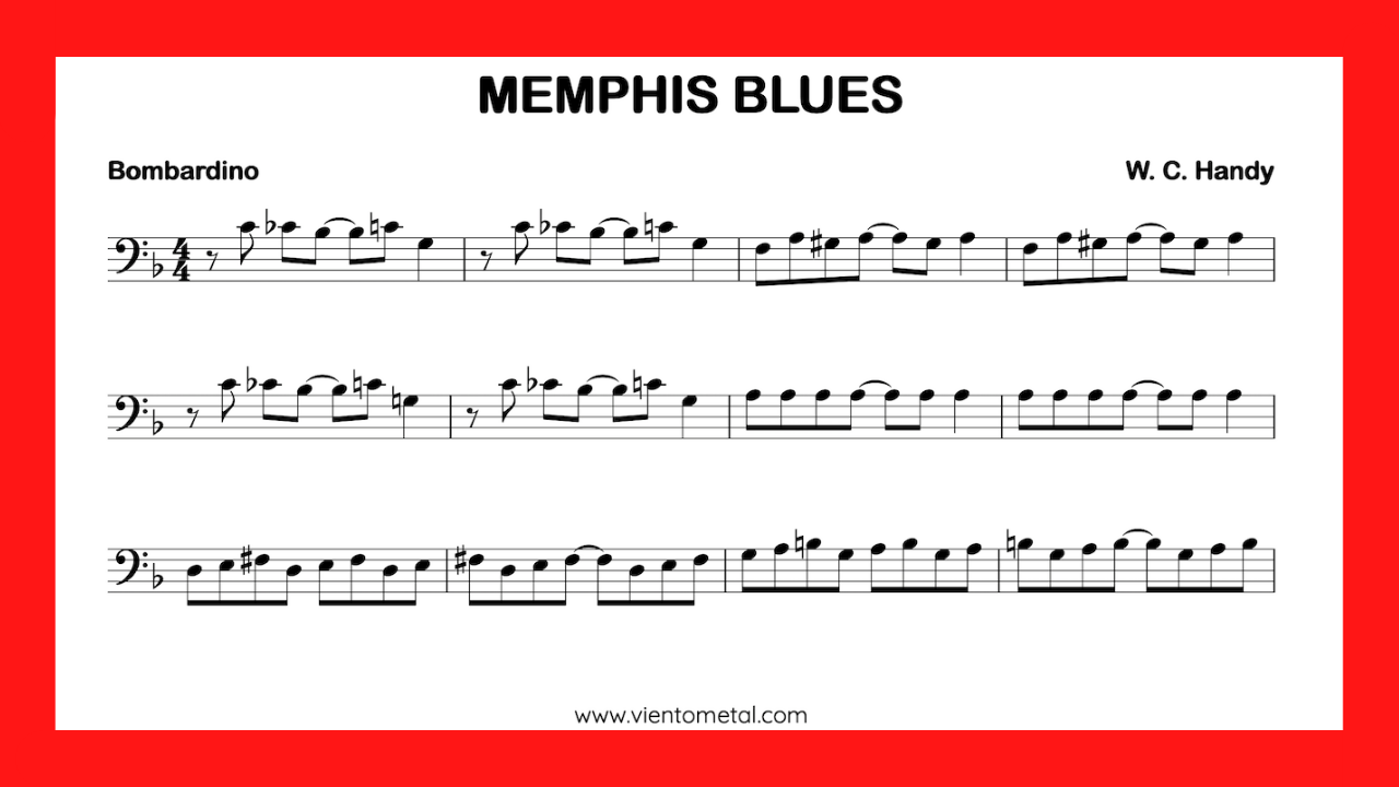 partitura bombardino fa Memphis Blues mini