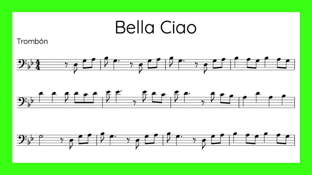Bella Ciao Partitura Trombon mini