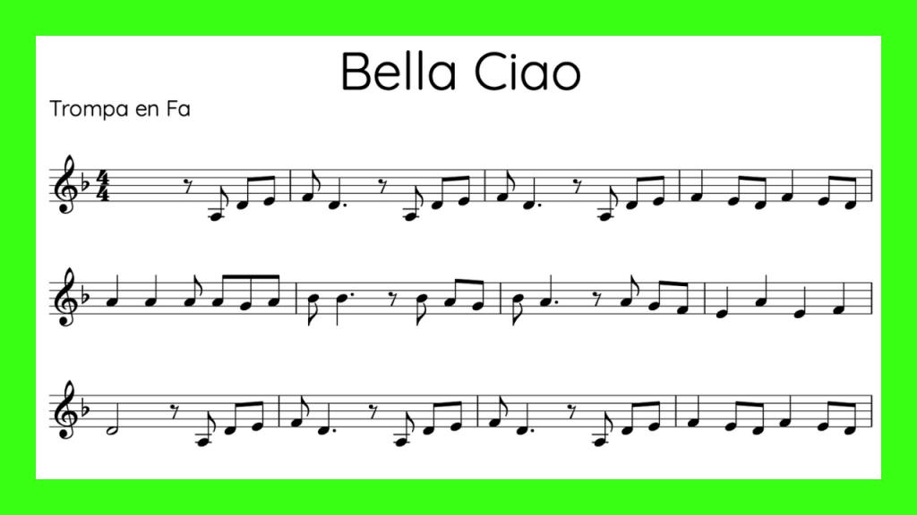 Bella Ciao Partitura Trompa Mini