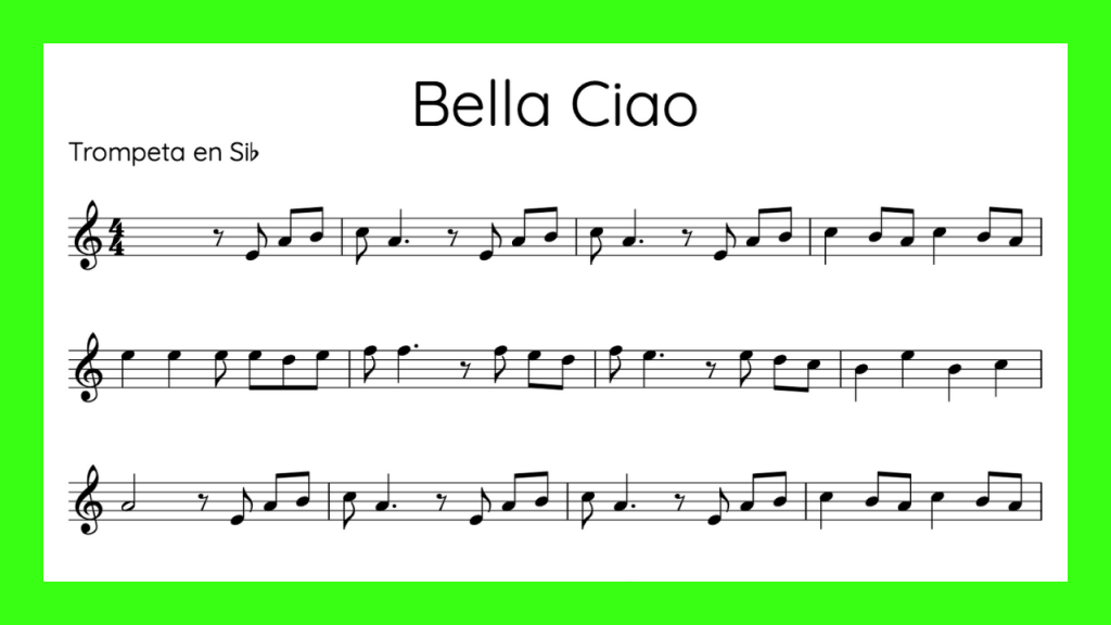 Bella Ciao Partitura Trompeta mini